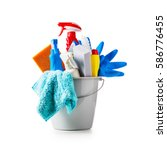 bucket with cleaning supplies... | Shutterstock . vector #586776455