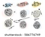 vector hand drawn doodle pizzas ... | Shutterstock .eps vector #586776749
