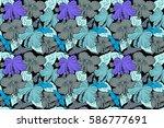 bright hawaiian seamless... | Shutterstock . vector #586777691