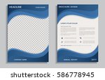flyer design template with blue ... | Shutterstock .eps vector #586778945