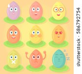 set of easter eggs with... | Shutterstock .eps vector #586792754