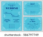 set of wedding cards in retro... | Shutterstock .eps vector #586797749