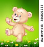 cartoon happy teddy bear    Shutterstock .eps vector #586808855