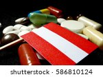austrian flag with lot of...   Shutterstock . vector #586810124