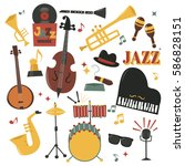 musical instruments decorative... | Shutterstock .eps vector #586828151