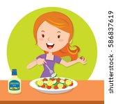 girl eating salad | Shutterstock .eps vector #586837619