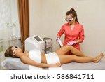 laser hair removal hip girl....   Shutterstock . vector #586841711