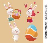 collection bunny easter egg | Shutterstock .eps vector #586843841