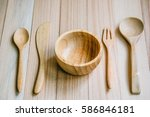 Wooden Bowl  Spoon  Fork  And...
