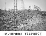concrete pile foundation for... | Shutterstock . vector #586848977