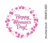 happy women's day lettering... | Shutterstock .eps vector #586851485