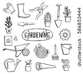 hand drawn vector garden icon... | Shutterstock .eps vector #586853444