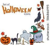 corner frame of halloween icons ... | Shutterstock . vector #586866995