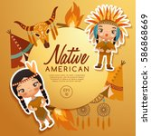 native american traditional... | Shutterstock .eps vector #586868669