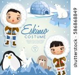 eskimo traditional costumes  ... | Shutterstock .eps vector #586868849