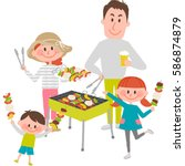 illustration of family enjoying ... | Shutterstock .eps vector #586874879
