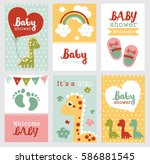 set of baby shower design.... | Shutterstock .eps vector #586881545