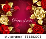 Stock vector red textured background with jewelry red and gold roses design with roses 586883075