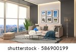 interior with sofa. 3d... | Shutterstock . vector #586900199