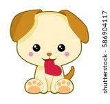 a cute dog holding a heart shape | Shutterstock .eps vector #586904117