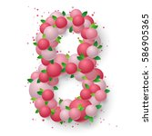 poster with pink balls ... | Shutterstock .eps vector #586905365