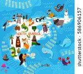 cartoon world map with... | Shutterstock .eps vector #586906157