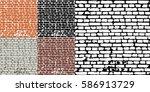 abstract grunge brick wall... | Shutterstock .eps vector #586913729
