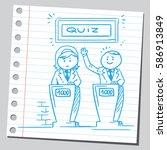 businesswoman and businessman... | Shutterstock .eps vector #586913849