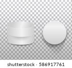realistic 3d  white blank... | Shutterstock .eps vector #586917761