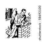 bricklayer   retro clip art | Shutterstock .eps vector #58692100
