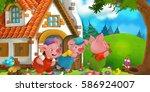 cartoon scene with three pigs...   Shutterstock . vector #586924007