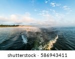 morning on the lake. on the... | Shutterstock . vector #586943411