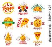 pizza logo templates for... | Shutterstock .eps vector #586944629