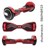 Small photo of Red hover Board, on a White Background