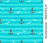 marine pattern seamless anchors ... | Shutterstock .eps vector #586950119