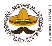 vintage border with hat and...   Shutterstock .eps vector #586952549