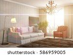 interior with sofa. 3d... | Shutterstock . vector #586959005