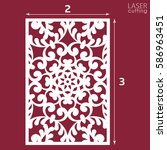 laser cut ornamental panel with ... | Shutterstock .eps vector #586963451