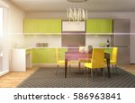 kitchen interior. 3d...   Shutterstock . vector #586963841