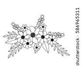 monochrome contour with flowers ...