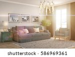 interior with sofa. 3d... | Shutterstock . vector #586969361