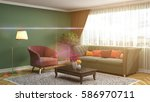 interior with sofa. 3d... | Shutterstock . vector #586970711