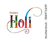 illustration of holi festival... | Shutterstock .eps vector #586971659