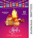 happy holi celebration poster... | Shutterstock .eps vector #586973231