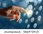 businessman clicks on the... | Shutterstock . vector #586973915