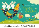 easter bunnies  chicken and... | Shutterstock .eps vector #586979441