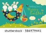easter bunnies  chicken and... | Shutterstock .eps vector #586979441