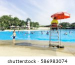 blurred people swimming at... | Shutterstock . vector #586983074