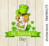 girl in a green hat on wooden... | Shutterstock .eps vector #586984175
