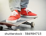 skater boy ride on skateboard... | Shutterstock . vector #586984715